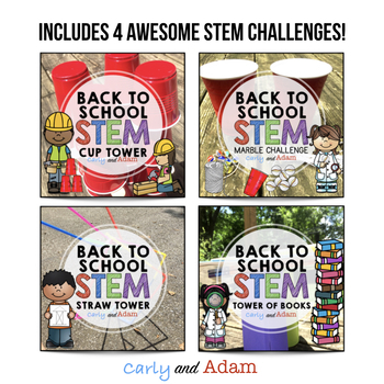 Back to School STEM Challenges BUNDLE: 4 Challenges Included- NGSS Aligned
