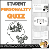 PERSONALITY QUIZ Personality Test and Student Inventory fo