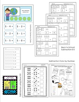 Back to School - SUBTRACTION Activity Pack