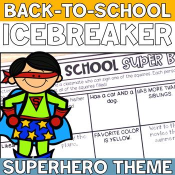 SUPER HERO THEME Back to School SUPER BINGO Icebreaker