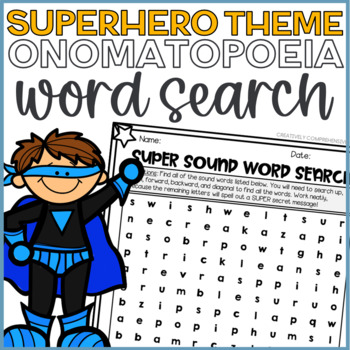 Back to School SUPER SOUND Word Search- SUPERHERO Theme