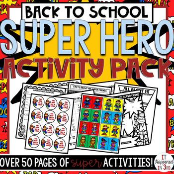 Back to School SUPERHERO THEME Super Activity Pack