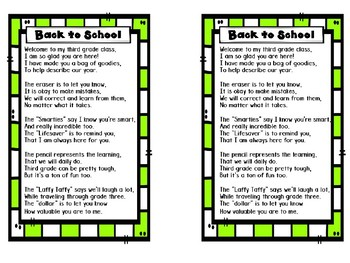 Back to School Poem for Sack