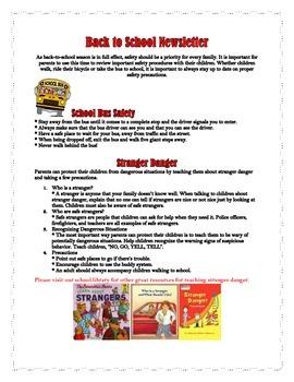 Back to School Safety Newsletter