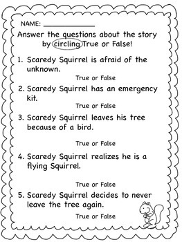 Back to School, Scaredy Squirrel, Literacy Activities