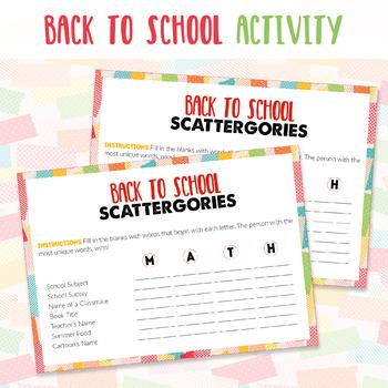 School Scattergories Worksheets Teaching Resources Tpt