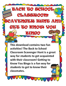 Back to School Classroom Scavenger Hunt Task Cards; Get to Know You Bingo