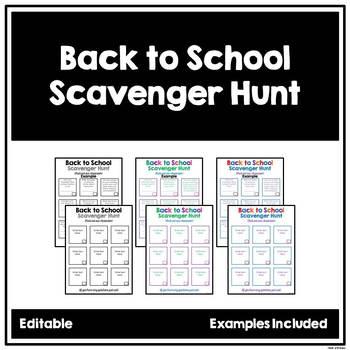 Back to School Scavenger Hunt - EDITABLE