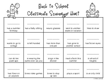 Back to School Scavenger Hunt- A Get to Know You Activity {Freebie!}