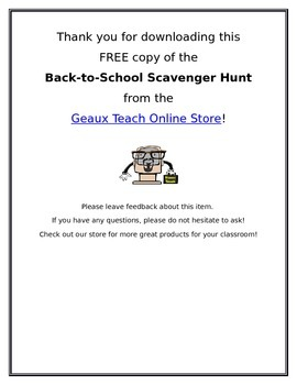 Back-to-School Scavenger Hunt for Elementary Grades Classrooms K-3