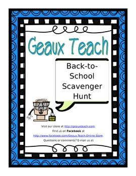 Back-to-School Scavenger Hunt for Elementary Grades Classr