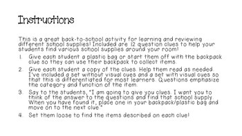 Back to School Scavenger Hunt for School Supplies