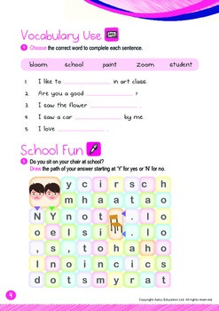 Back to School - School, Paint, Student (I): Word Family OOM - K3 (age 5)