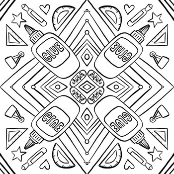 Back To School School Supplies Coloring Pages By Hipster Art Teacher