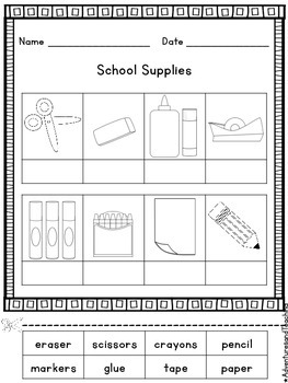 Back to School School Supplies Picture Sort FREEBIE