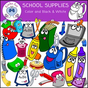 Back to School {School Supplies with faces} Clip Art