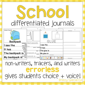 Back-to-School / School Supply Leveled Journal Writing for