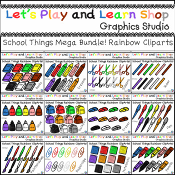Back to School! School Things Mega Bundle of Rainbow Cliparts