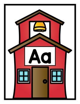 Back to School Schoolhouse Beginning Sound Sort for PreK, K, & Homeschool