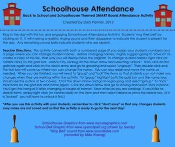 "Back to School ""Schoolhouse"" SMART Board Attendance Activity w/ SOUND"