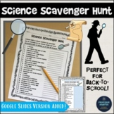 Distance Learning Science or Back to School Science Activity Scavenger Hunt