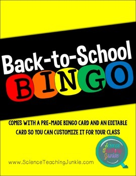 Back to School Bingo (for ALL Subjects)