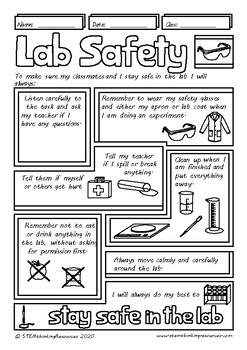 Back to School Science Lab Safety Rules Doodle Notes, Middle School