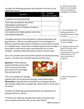 Back to School Middle Science Notes - Introduction to Science