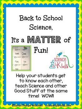 Back to School Activities 3 States of Matter Science Ice Breaker
