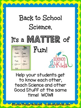 Back to School Activities 3 States of Matter Science Ice Breaker