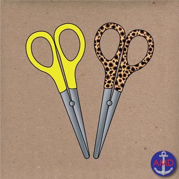 Back to School Scissors- Clip Art School Supplies- Neon & Animal Print Scissors