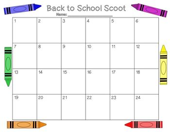 Back to School Scoot with Cute Crayons