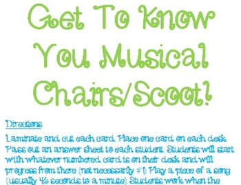 Back to School Scoot/Musical Chairs