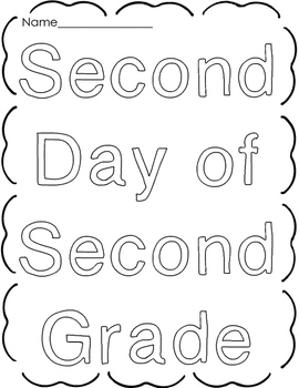 Back to School  Second Grade Worksheets Printables Activities Day 2 Aug. Sept.