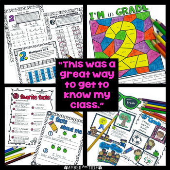 Back to School Second Grade First Week/Day 2 activities, LA, Math, Writing