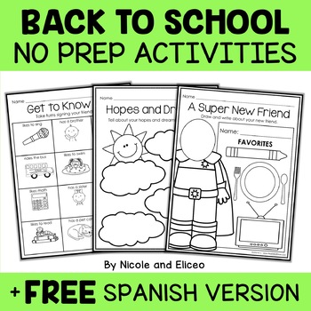 Back to School Activities - Math and Literacy
