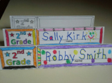Back to School Second Grade Name Cards Foldable and Standable