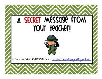 Back to School Secret Message FREEBIE
