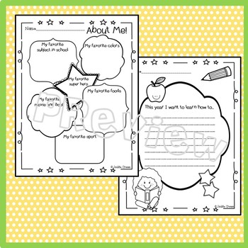 Back to School Writing Prompts & Portrait Page Freebie