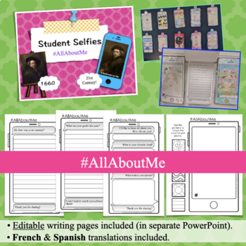All About Me Selfie + Writing Prompts | w/ Reflective End of the Year Activity