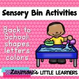 Back to School Sensory Bin Activities