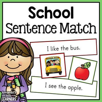 School Themed Sentence Matching Strips