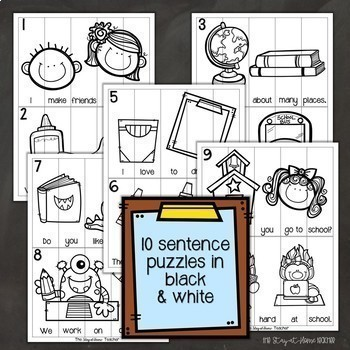 Sentence Building Puzzles and Worksheets for Back to School