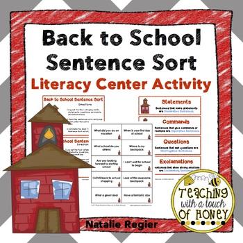 Back to School Sentence Sort: Literacy Center Activity