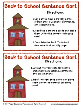 Back to School | Writing Center Activity | Literacy Centers | Sentence Sort