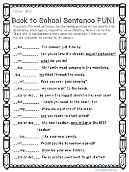 Back to School Sentence (punctuation, capitalization, & sentence types) FUN!!