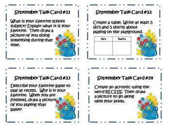Back to School September Writing Task Cards