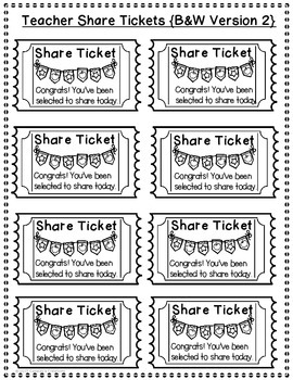 Back to School Share Slips and Tickets for Teachers