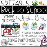 Back to School Shark Themed Classroom Wish List {Editable}