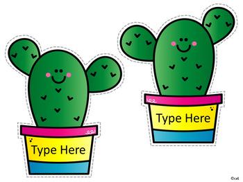 Back to School Sharp Bunch Cactus Bulletin Board ~ Editable!